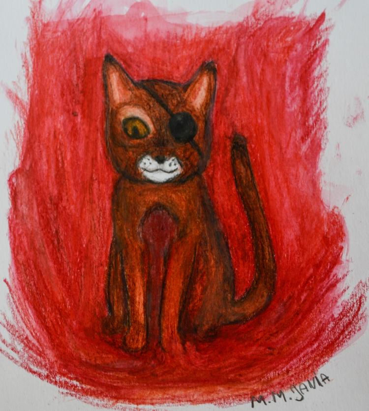 illustration, cat, pencil, aqurelle - maksmj | ello