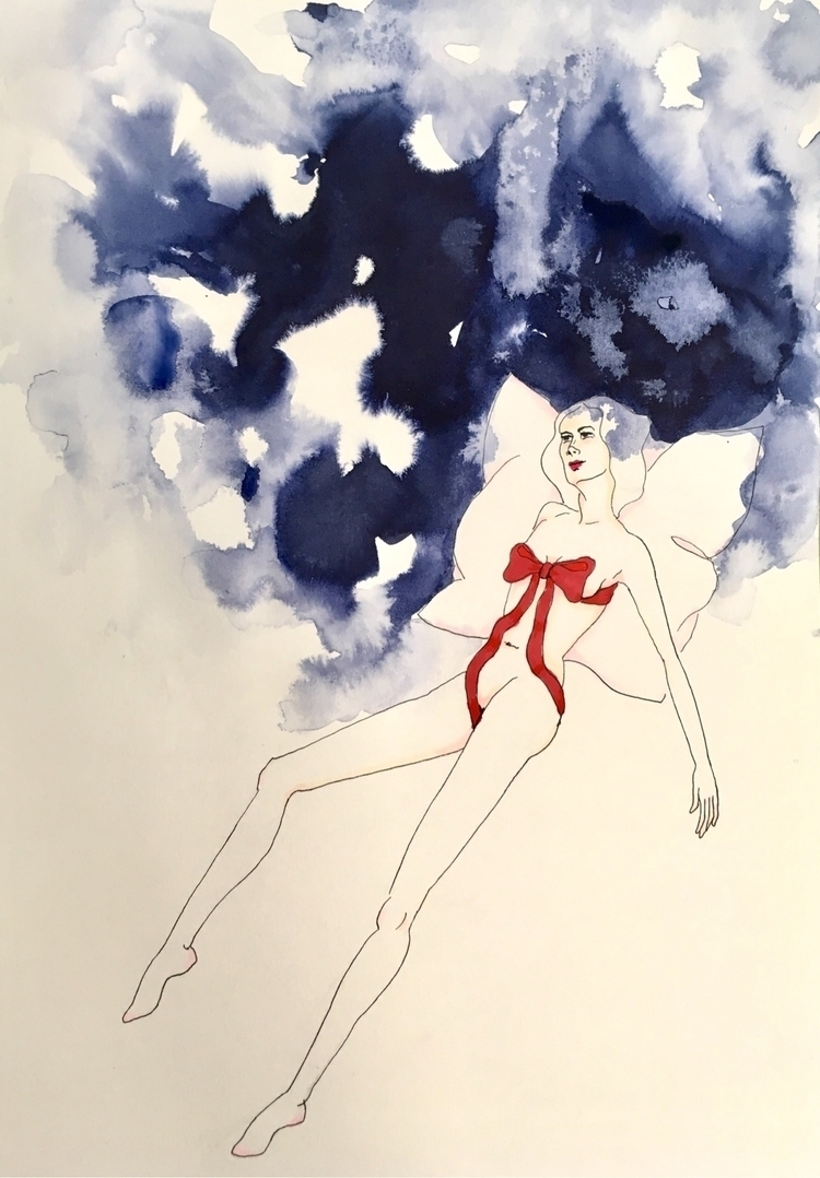 blue dreams - kunst, inkonpaper - lorettamae | ello