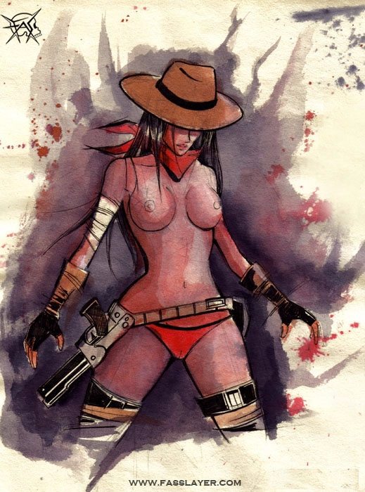 17-8-30 - cowgirl, sexygirl, watercolors - fasslayer | ello