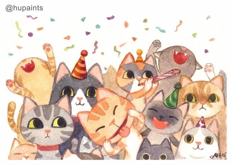 Cat Party - watercolor - cat, illustration - hupaints | ello