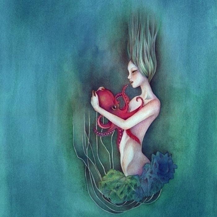 art, popsurrealism, underwater - tearsinrain | ello