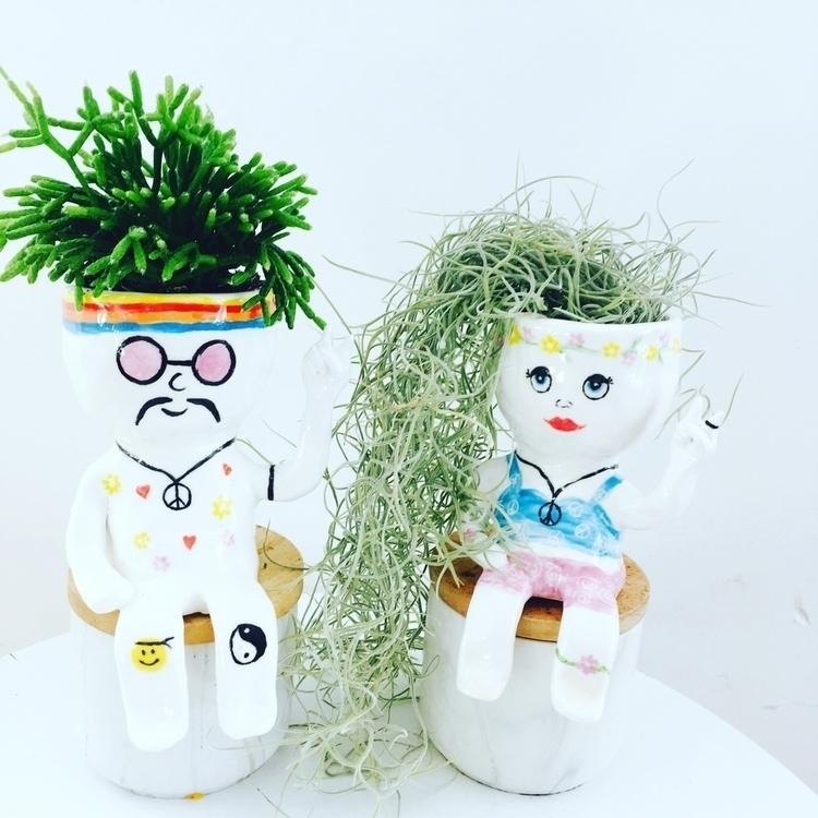 peace Loving hippie planter - pottery - livingdecortwins | ello