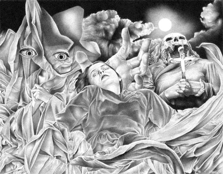 """Vampirism - collage, pen, ink, stipple - renzorazzetto   ello"
