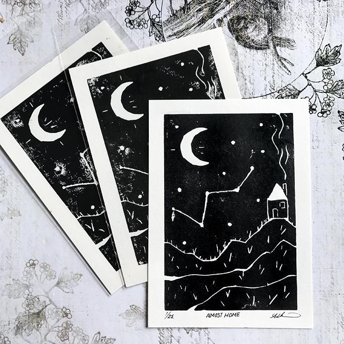 Created Linocut Print. simple d - auniakahn   ello