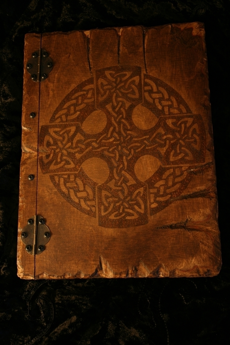 Wooden book Celtic design - Grimoire - demondragonfly | ello