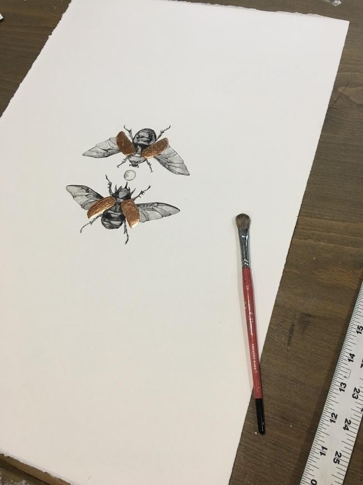 drafting table - beetle, ink, painting - alexakarabin | ello