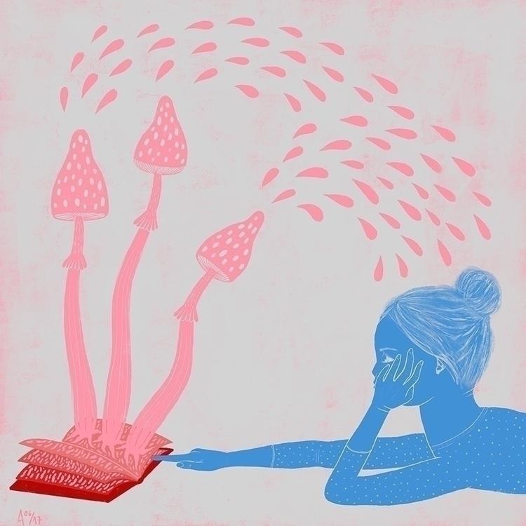 Study mind - illustration, pink - sleepydolphin   ello