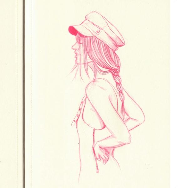 Rosa pink overalls - doodle, drawing - j0eyg1rl | ello