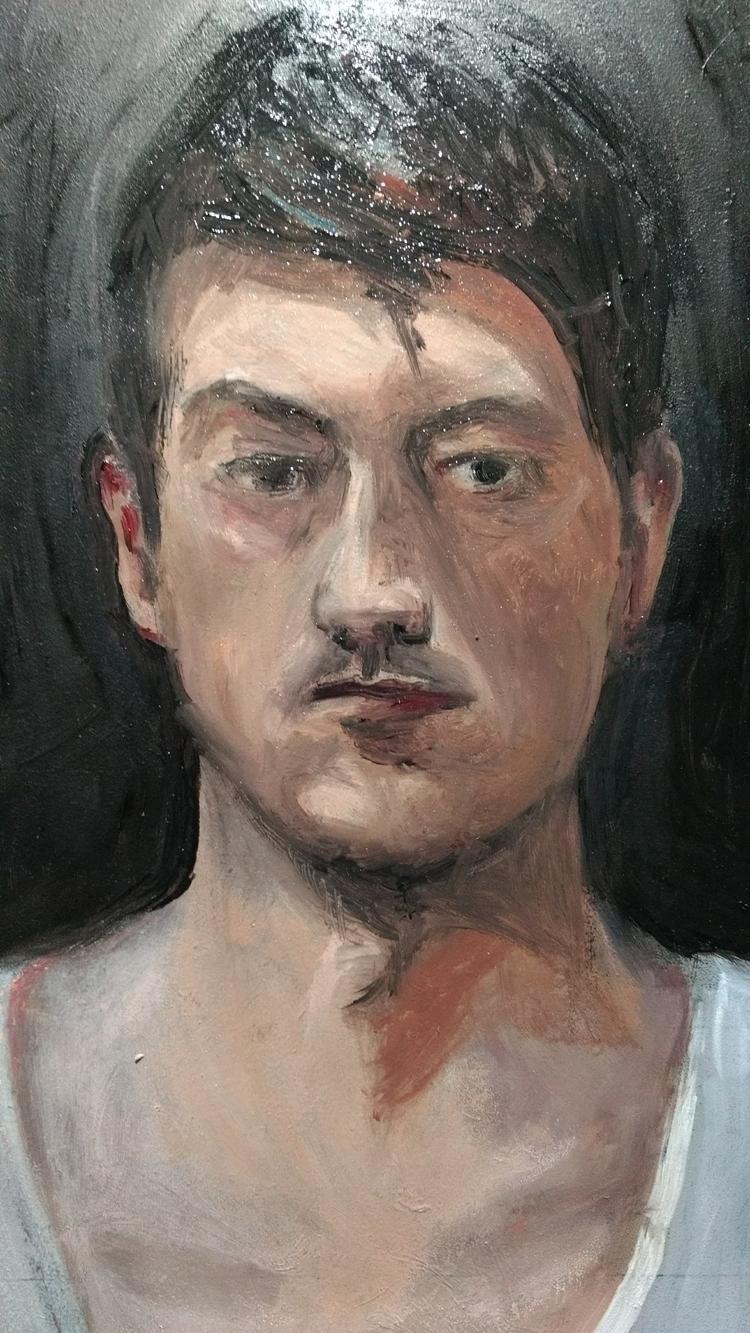 selfportrait, OilPainting, WIP - fj-gc   ello
