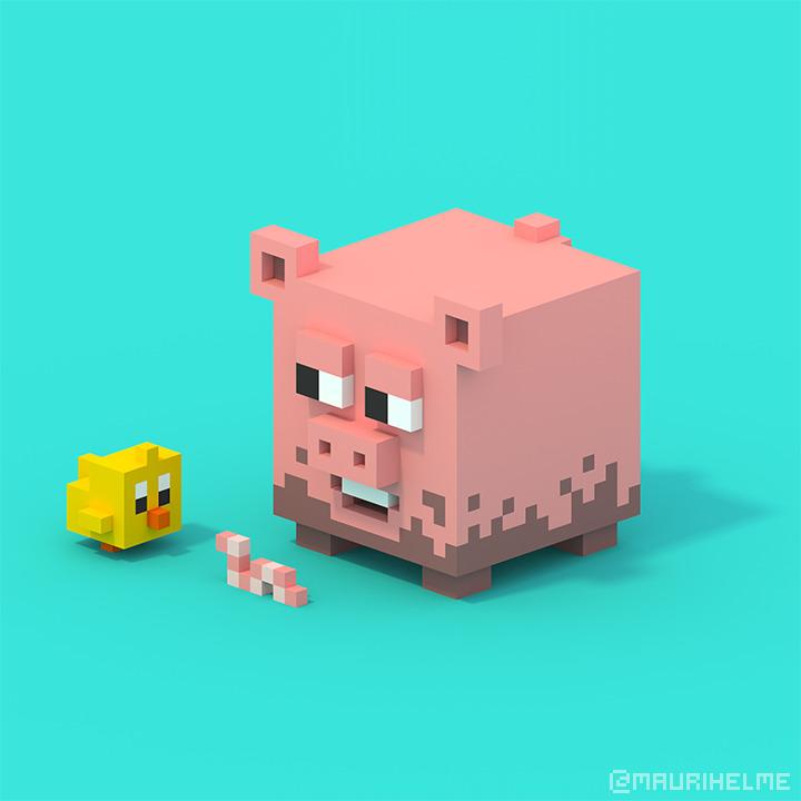 Piggy - voxelart - maurihelme | ello