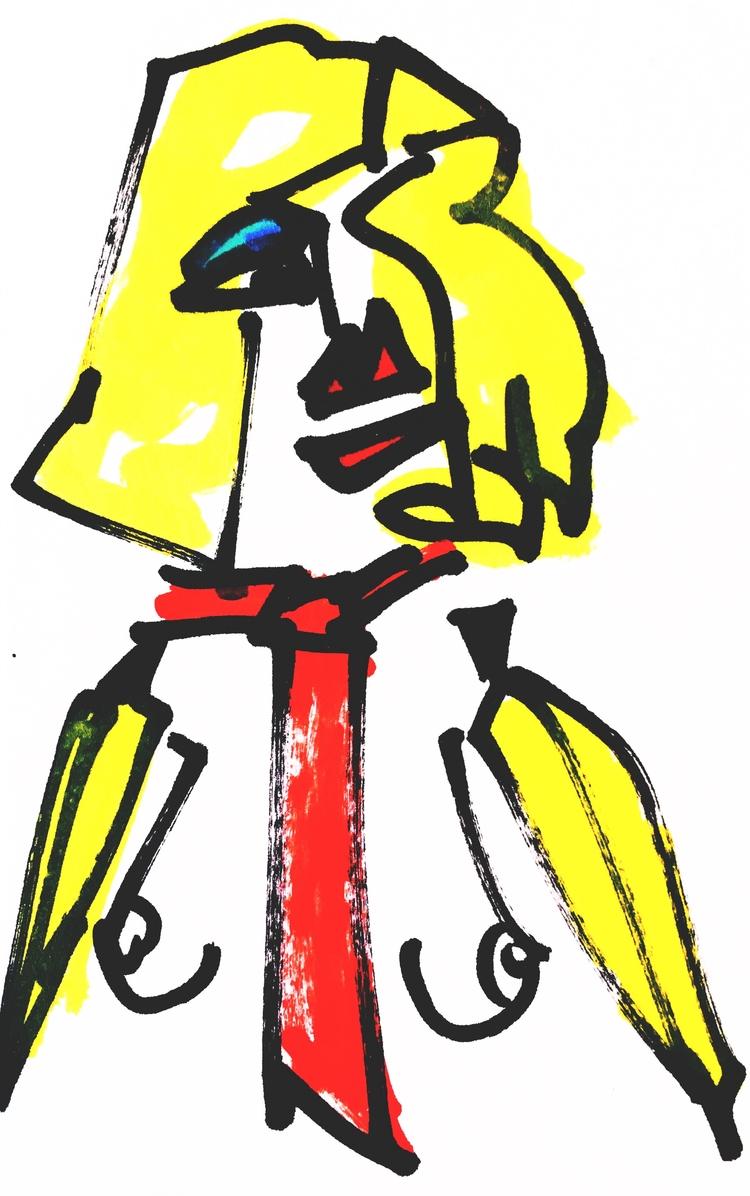 Banana-Arm Woman Red Tie, 2017 - jkalamarz | ello