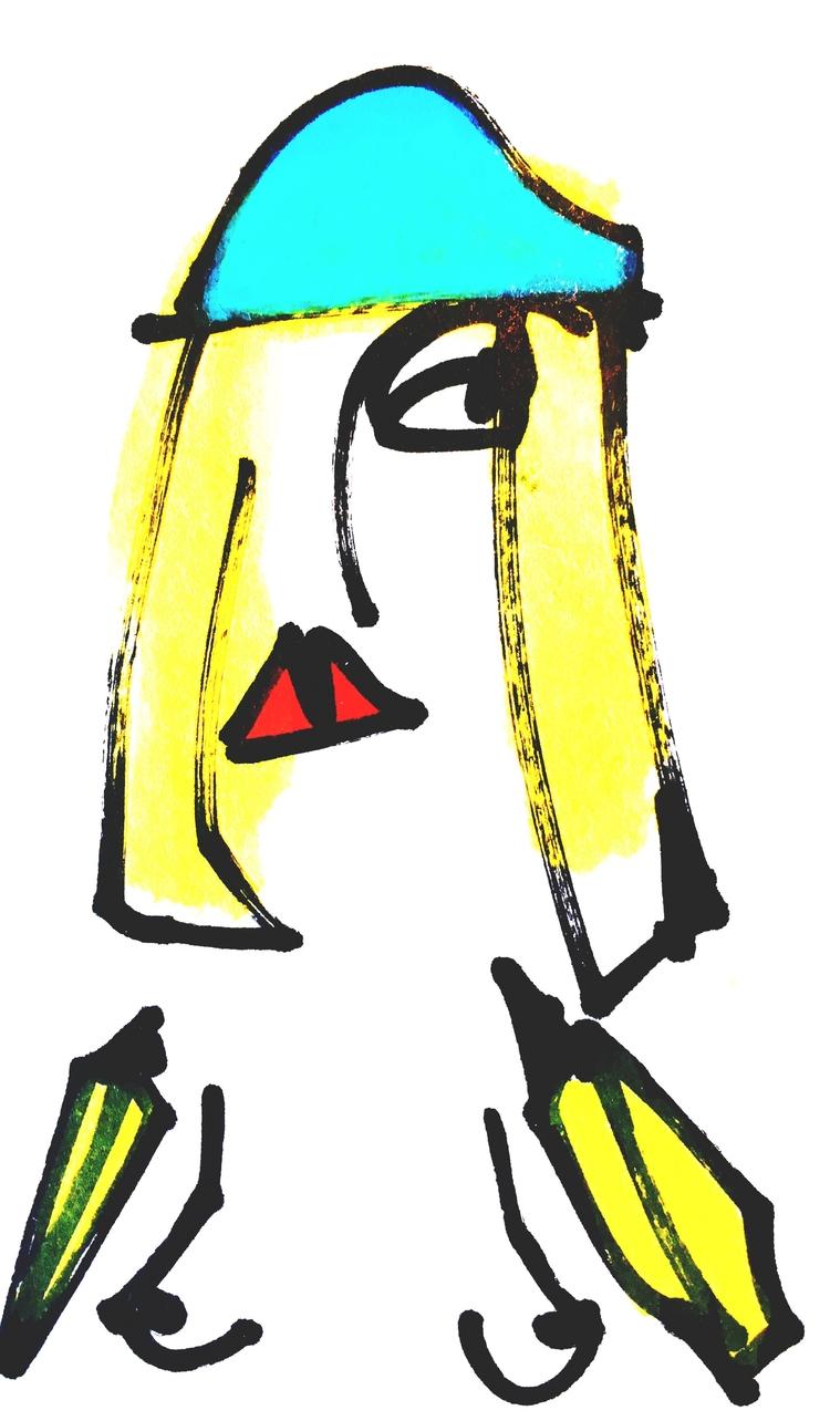 Banana-Arm Woman Blue Hat, 2017 - jkalamarz | ello