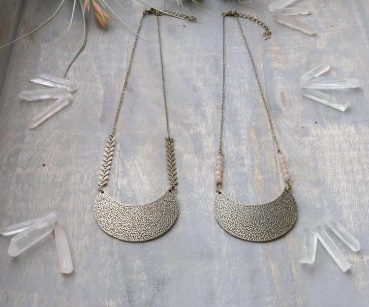 Brass crescent moon necklaces C - emmandflow | ello