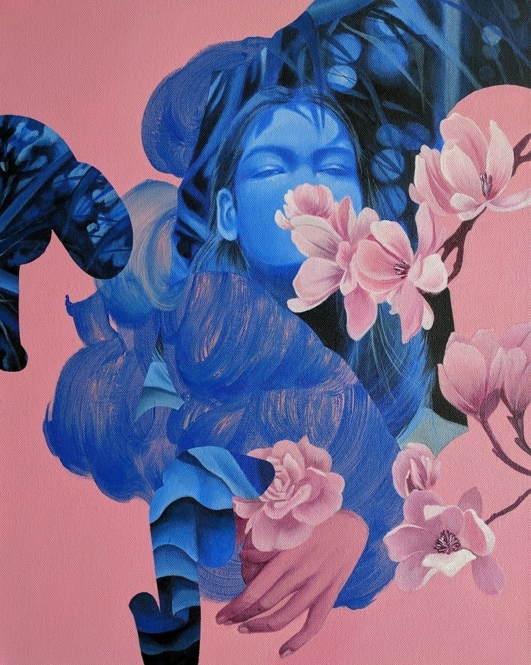 blue bloom, 16 20, acrylic canv - florencesolis | ello
