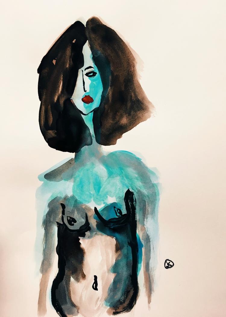 art, nude, portrait, painting - jkalamarz | ello