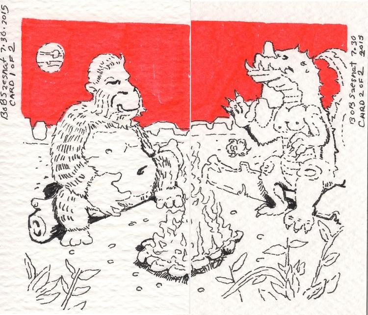 King Kong Godzilla chilling fir - bobszesnat | ello