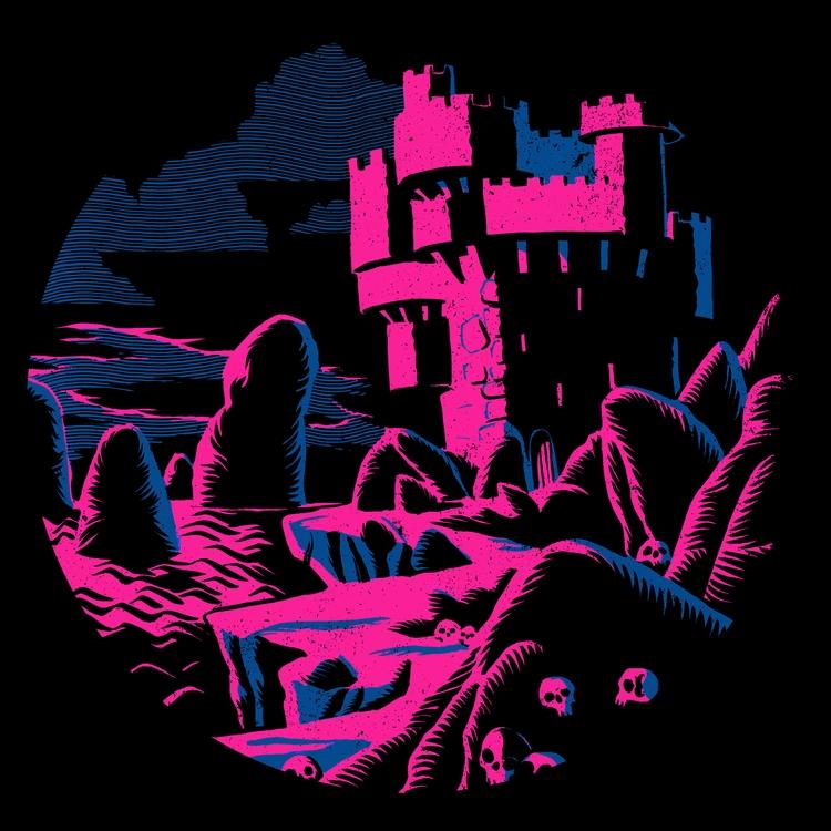 Skull Castle. Ink paper digital - splendidhand   ello