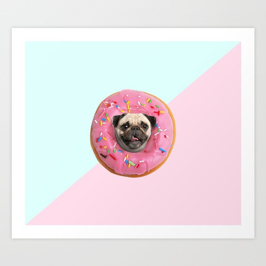 Pug Strawberry Donut - Digital  - lostanaw | ello