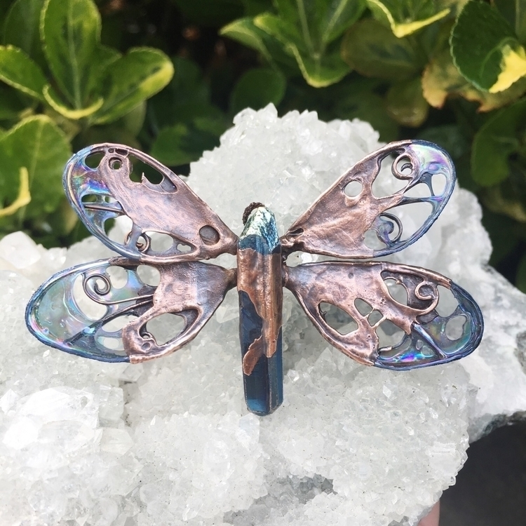 excited dragonfly pendant! navy - faerieblessings | ello