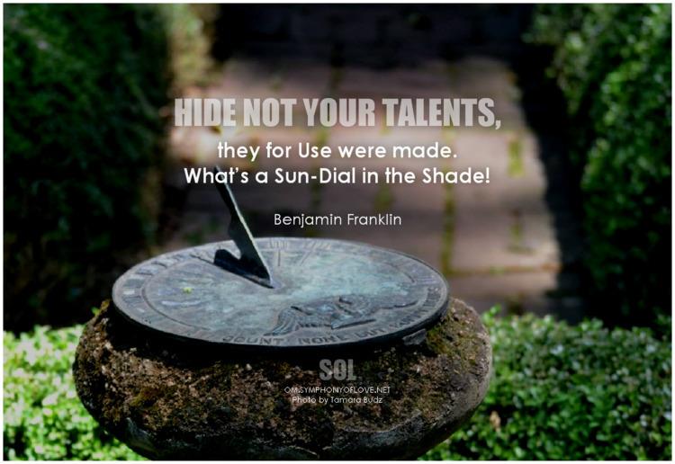 Hide Talents, Sun-Dial Shade! q - symphonyoflove   ello