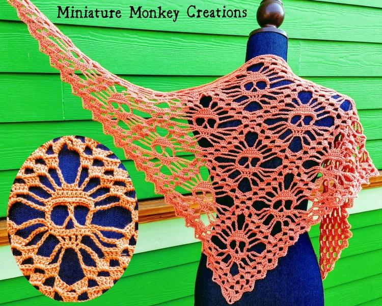 shop: Sparkly Orange Skull Shaw - miniaturemonkeycreations | ello