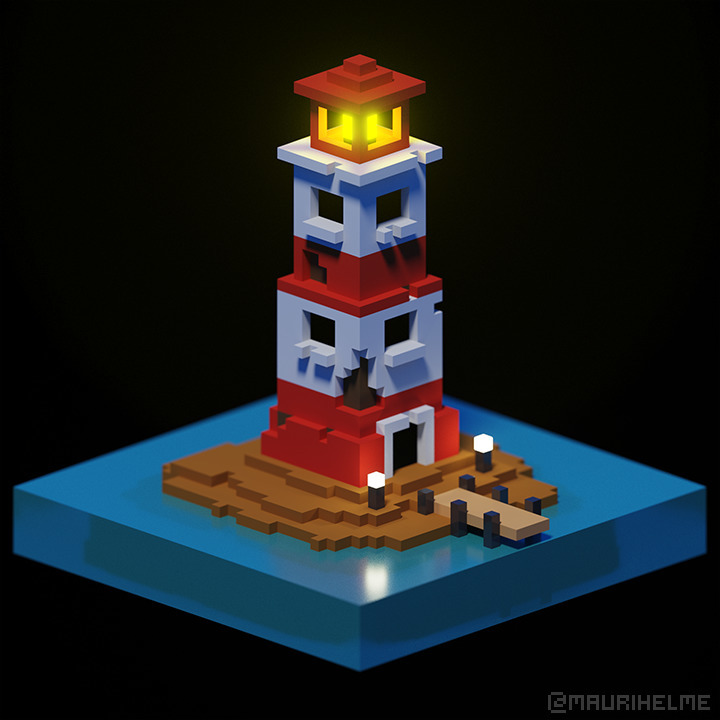 Lighthouse - 3D, voxelart, digitalart - maurihelme | ello