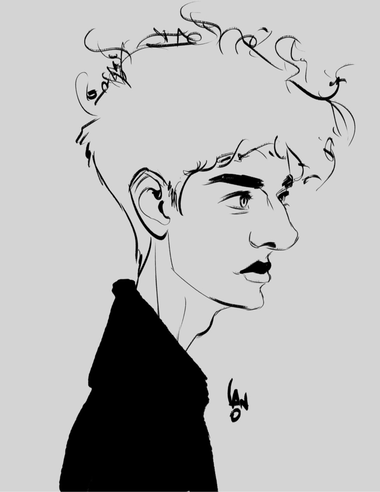 Testing brushes - artist, art, male - sketchian | ello