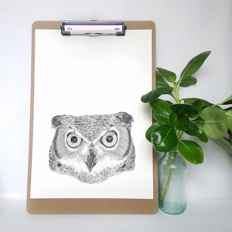 handdrawn, owl, print, etsy, etsyau - natmack | ello