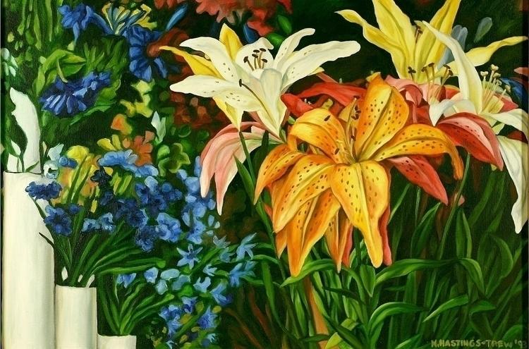 Silk Lilies. Painted 1993. 20X3 - nancyht | ello