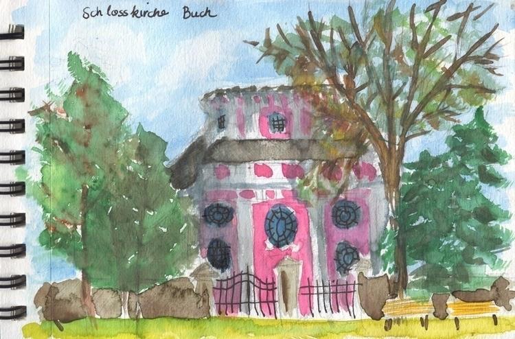 Castle church Berlin Buch - watercolor, - anicajudith | ello