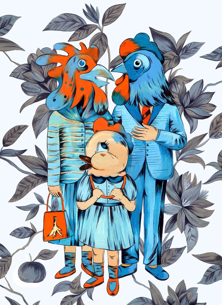 Rooster year family portrait. a - barbarianflower | ello
