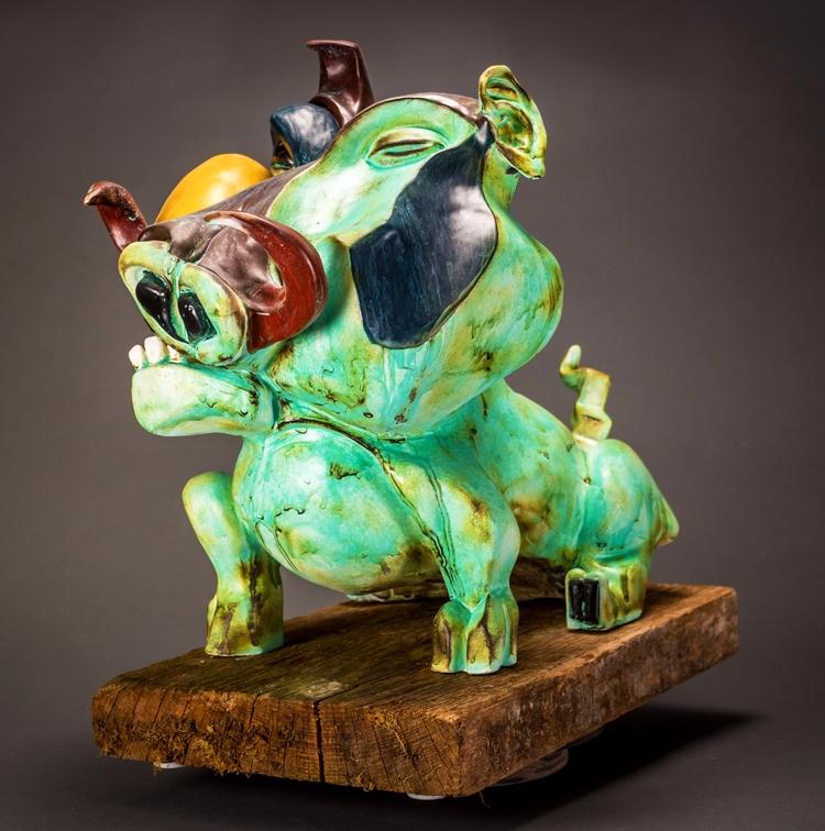cubism pig, ceramic statue dirk - dirkdahl | ello