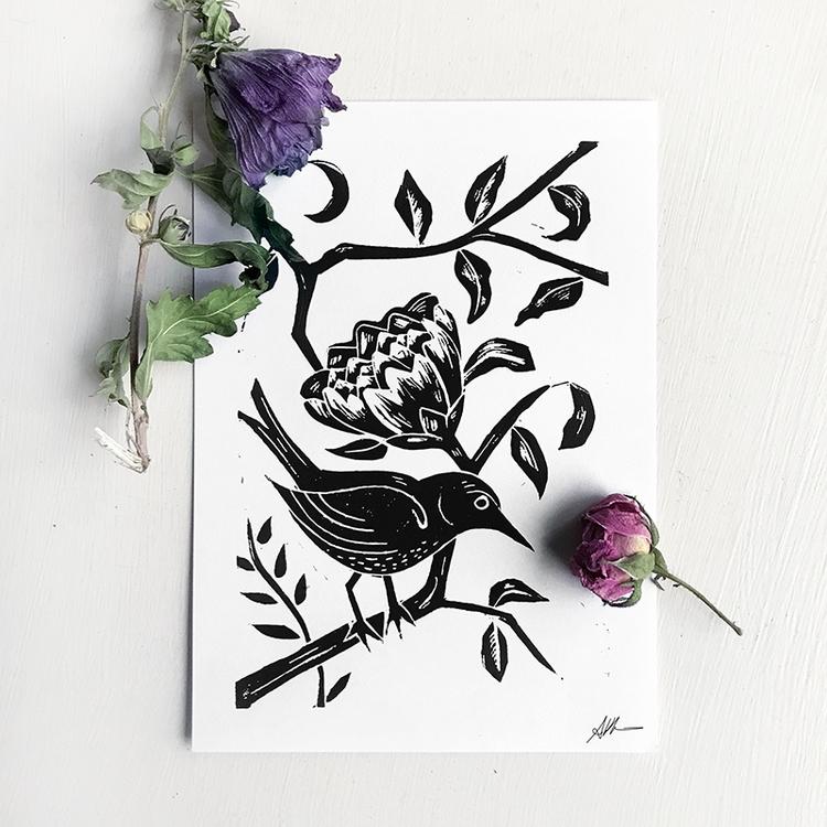 'Desiderium' Linocut Print, Edi - auniakahn | ello