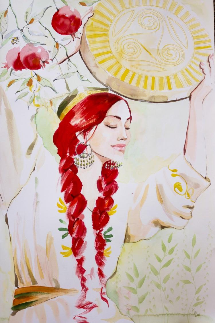 Commission beautiful woman - bee - flolmi | ello