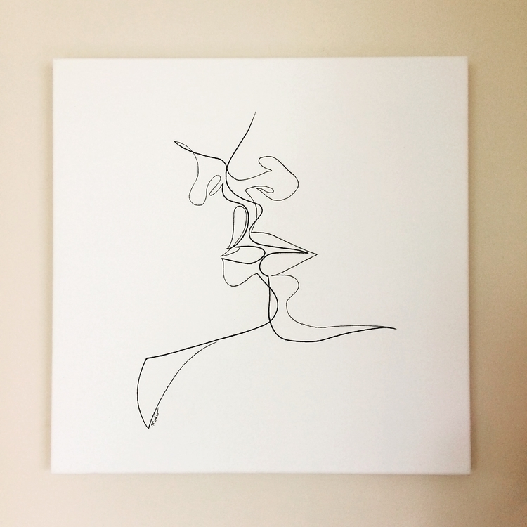 Fear Single line. Marker canvas - bymosler | ello