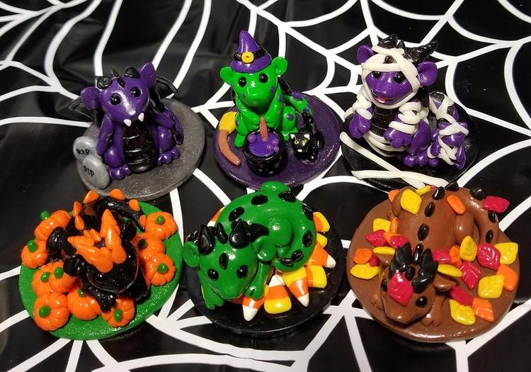 Halloween Fall Baby Dragon Scen - prismaticpearls | ello