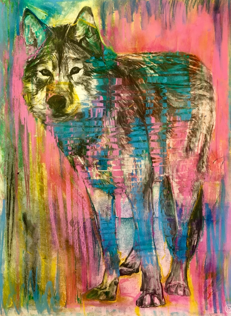 WOLF DEER - pastel, charcoal, abstract - maubad | ello