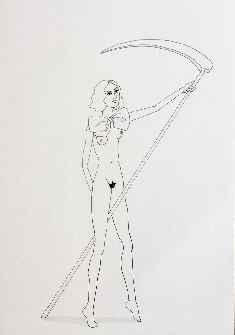 death maiden - kunst, drawing, deathandthemaiden - lorettamae | ello