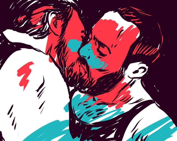 kiss, gay, beards, men, gayart - laceoni | ello