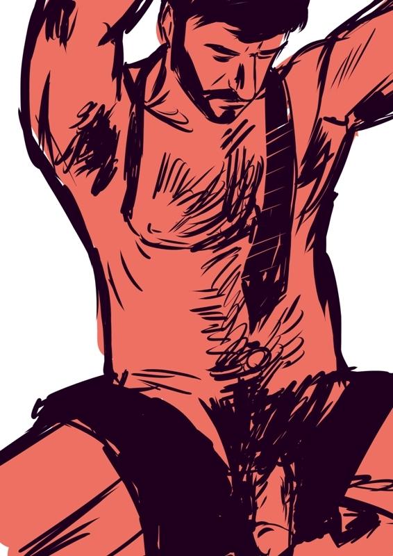 man#drawing, sketch, beard, nude - laceoni | ello