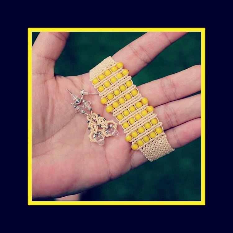 Yellow Beige - macrame, cuff, bracelet - macrame_birbyzossleptuve | ello