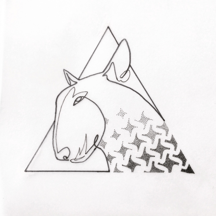 Single line + dotwork - bullterrier - bymosler | ello