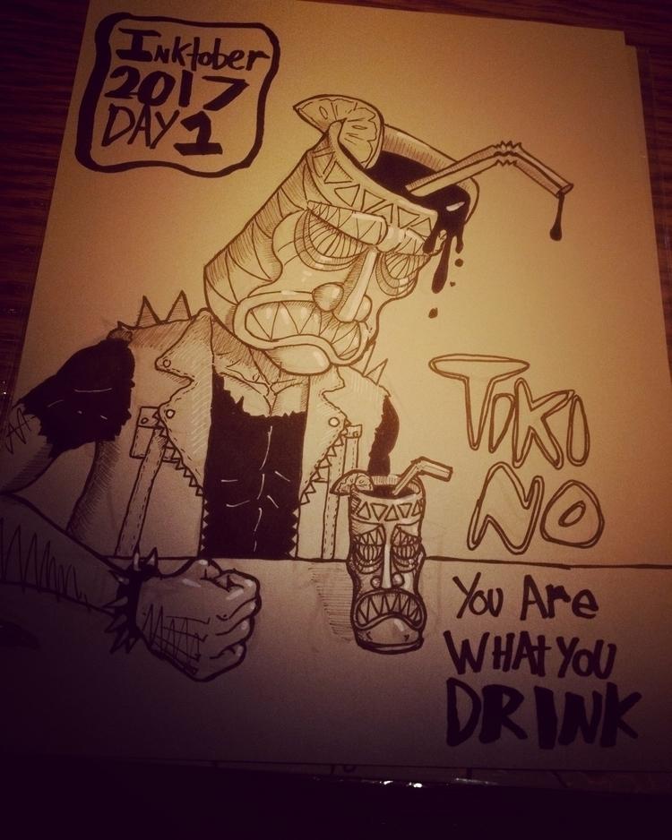 Day 1 Drawn Tiki Los Angeles - inktober - jonzye | ello