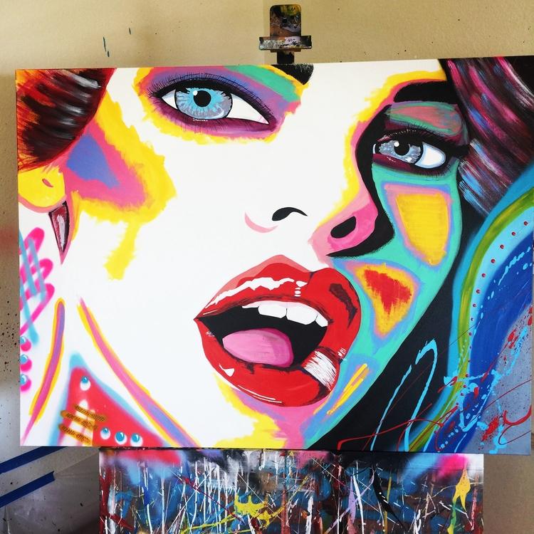 art#abstract#contempoaryart#artistrockyasbury#modernart#fineart#popart#beautiful#woman#acrylic#spraypaint#streetArt - rockasb | ello