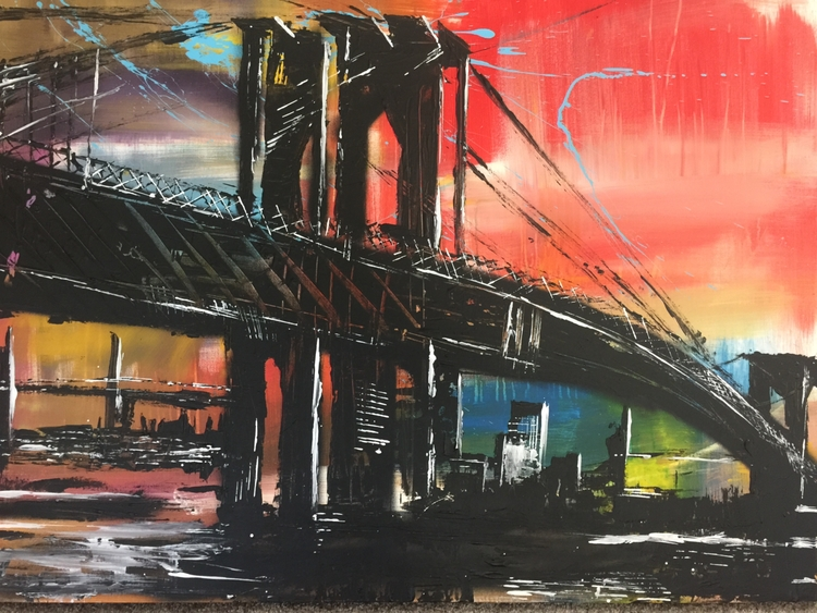 brooklynbridge#abstractart#acrylic#modernart#contemporaryart#fineart#beautiful#artistrockyasbury#spraypaint#sky#bridge#officedecor - rockasb | ello