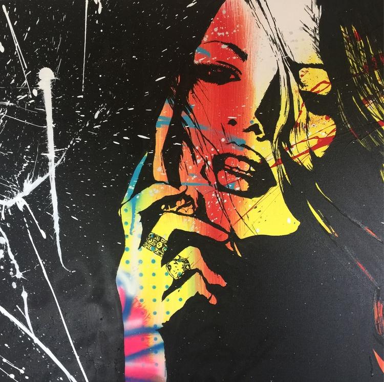 art#abstract#woman#artistrockyasbury#beautiful#acrylic#painting#fineart#modernart#pink#contemporaryart - rockasb | ello