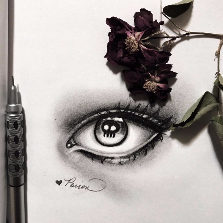Quick eye sketch 🖤Prompt - inktober - auniakahn | ello