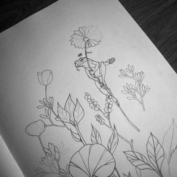 Work progress hovering - frog, plants - 3-3-3 | ello