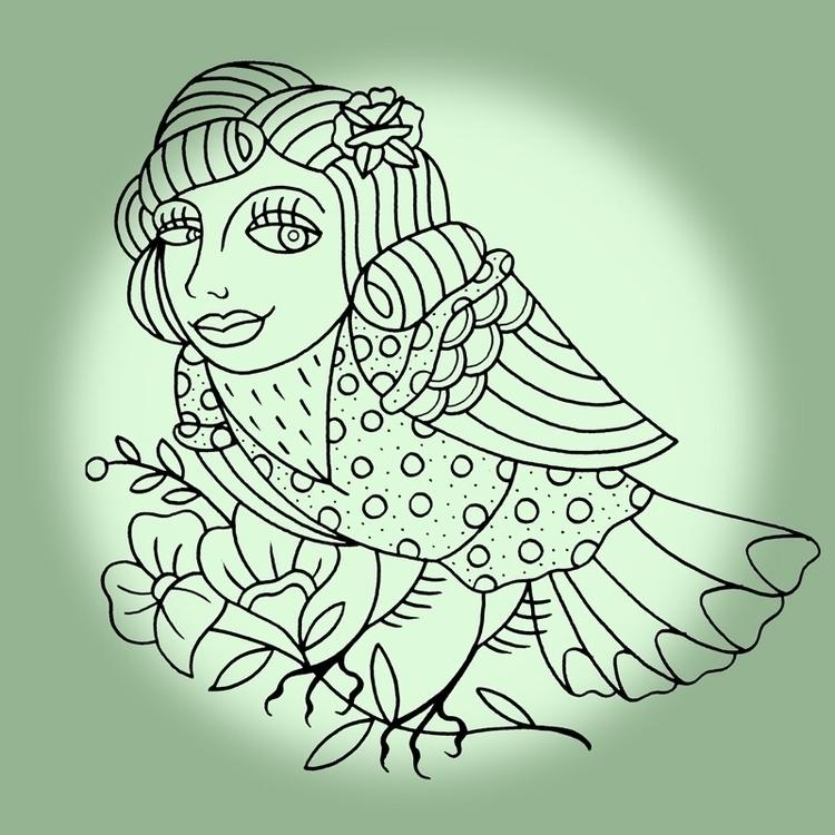 wearing lady - Bird, mask, tattoo - levigreenacres   ello