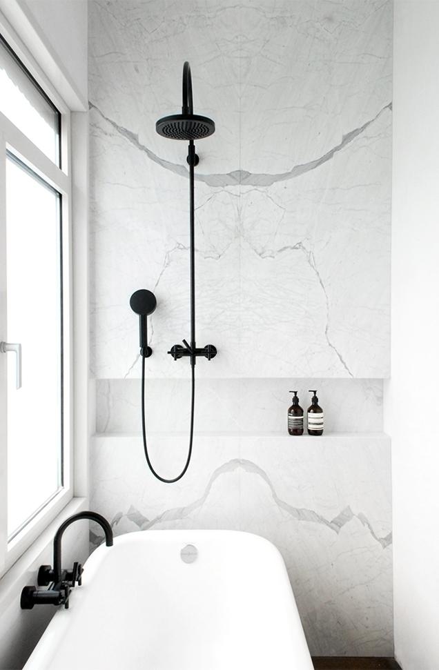 Marble wall black shower fixtur - upinteriors | ello